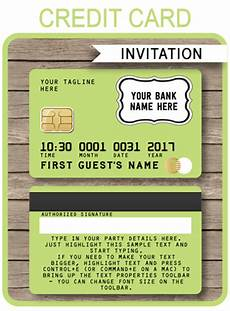 Credit Card Template For Kids Lime Green Credit Card Invitations Mall Scavenger Hunt