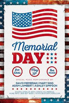 Memorial Day Flyer Memorial Day Free Poster Template Freebie For