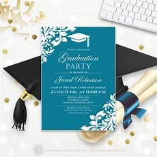 Graduation Invitation Maker Free Printable Graduation Party Invitation Template Blue Teal High