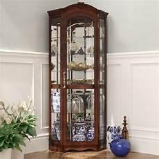 darby home co purvoche lighted corner curio cabinet