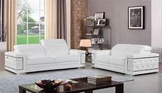contemporary white genuine italian leather sofa set 2 pcs