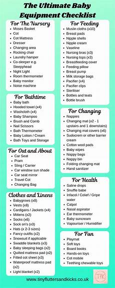 Baby Essential List The Ultimate Baby Equipment Checklist Tiny Flutters And