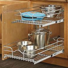 rev a shelf 15 quot x 22 quot 2 tier wire basket cabinet organizer