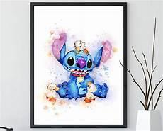 stitch lilo stitch watercolor poster disney