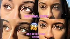 Light Brown Contact Lenses For Dark Eyes Best Colored Contact Lenses Adore Bi Tone Hazel Lenses On