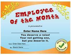 Fun Certificates For Employees Employee Of The Month Funny Certificate Pdf Funny