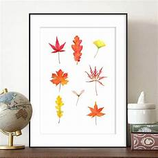 autumn fall leaves watercolor painting print maple