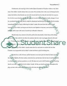 Hamlet Literary Analysis Essay Hamlet Character Analysis Essay Example Topics And Well