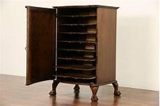 oak 1910 antique sheet file cabinet carved claw