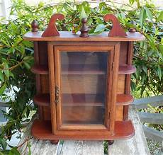 miniature hanging cupboard curio cabinet wood glass by