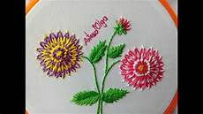 dahlia flower embroidery color lazy stitch
