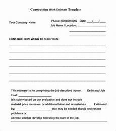 How To Estimate A Construction Job 11 Construction Estimate Templates Pdf Doc Excel