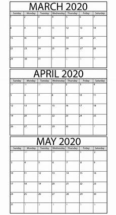 2020 Three Month Calendar Printable March To May 2020 Calendar Templates 2019