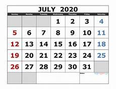July 2020 Calendar Printable July 2020 Printable Calendar Template Excel Pdf Image