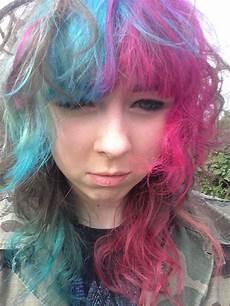 Half Pink Half Blue Half Pink And Blue Hair Dyed Hair Amp Pastel Hair