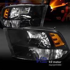 2014 Ram 2500 Lights Depo 2009 2014 Ram 1500 2500 3500 Black Headlights Pair Ebay