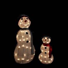 Lighted Snowman Family Set Of 3 Set Of 2 Lighted 3 D Tinsel Snowman Family Christmas Yard