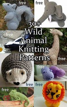 animal knitting patterns including squirrel lions