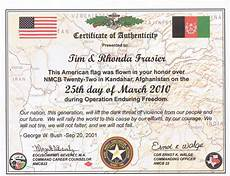 Certificate Of Authenticity Template We Support Our Troops Frasier Bison L L C