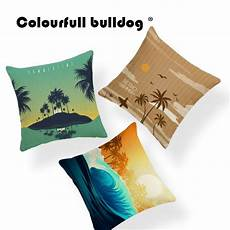 hello summer palm tree cushions yellow cover