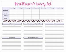 Meal Planning Grocery List Template Menu Amp Grocery Printables