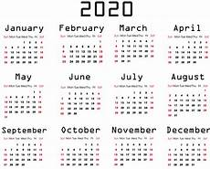 Printable 2020 12 Month Calendar Yearly 2020 Calendar Free 12 Month 2020 Calendar Printable