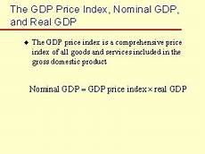 Formula For Nominal Gdp The Gdp Price Index Nominal Gdp And Real Gdp