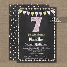 7th Birthday Invitation Card Printable 7th Birthday Invitation Pink Yellow Chalkboard Printed