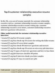 Customer Relationship Executive Resume Top 8 Customer Relationship Executive Resume Samples