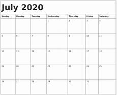 October 2020 Calendar Template July 2020 Calendar Template