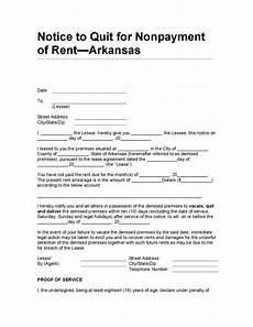 Notice Of Eviction For Nonpayment Of Rent Arkansas Notice To Quit For Nonpayment Of Rent