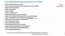 Interview Questions For Information Technology Tech Mahindra Oracle Pl Sql Interview Questions Youtube