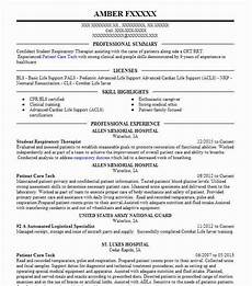 Sample Respiratory Therapy Resume Student Respiratory Therapist Resume Sample Livecareer