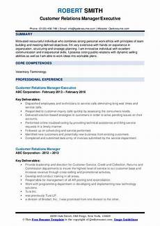 Customer Relationship Executive Resume Customer Relations Manager Resume Samples Qwikresume