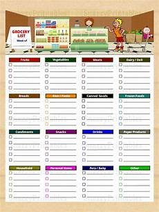 Printable Grocery List By Category Printable Grocery List With Categories Instant Download