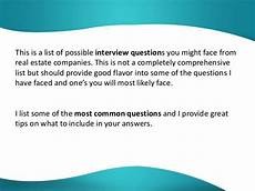 Real Estate Interview Questions Real Estate Interview Questions And Answers