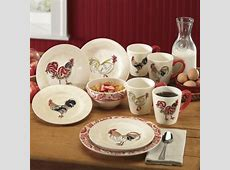 16 piece Paisley Rooster Dinnerware Set from Through the