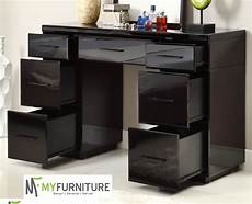 mirrored black glass dressing table console 7 drawer