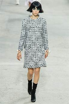 chanel black and white tweed dress with camellia at 1stdibs
