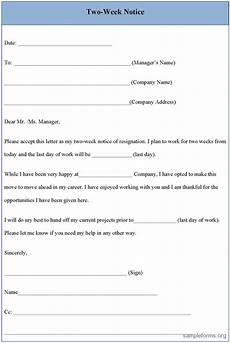 Form Resignation Letter Resignation Letter Sample 2 Weeks Notice Two Week Notice
