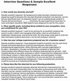 sample responses to interview questions job interview questions amp sample excellent responses ca club