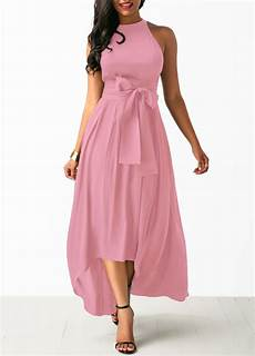 belted pink high low dress and cardigan rosewe usd
