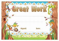 Free Certificate Template For Kids School Certificates Great Work 30 Certificates For Kids