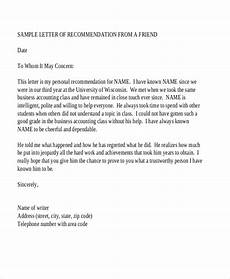 Sample Letter Of Recommendation For A Friend Free 10 Sample Recommendation Letters In Pdf Ms Word
