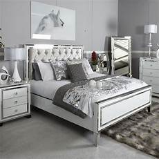 white mirrored king size bed frame picture
