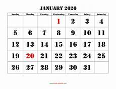 2015 2020 Monthly Calendar Printable Calendar 2020 Free Download Yearly Calendar