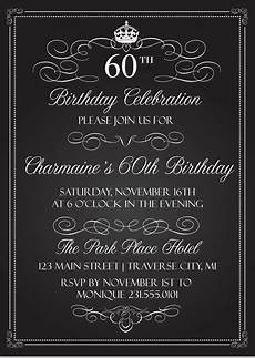 Free Printable Birthday Invitations For Adults Crown Vintage Birthday Invitations Chalkboard