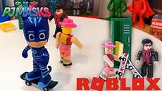 pj masks toys catboy goes to roblox high school to