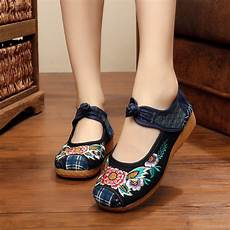 yrzb ethnic flower embroidery ankle wrap wedge heel shoes