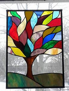 Art Deco Stained Glass Window Designs Stained Glass Tree Leaded Glass Window Panel Art Deco